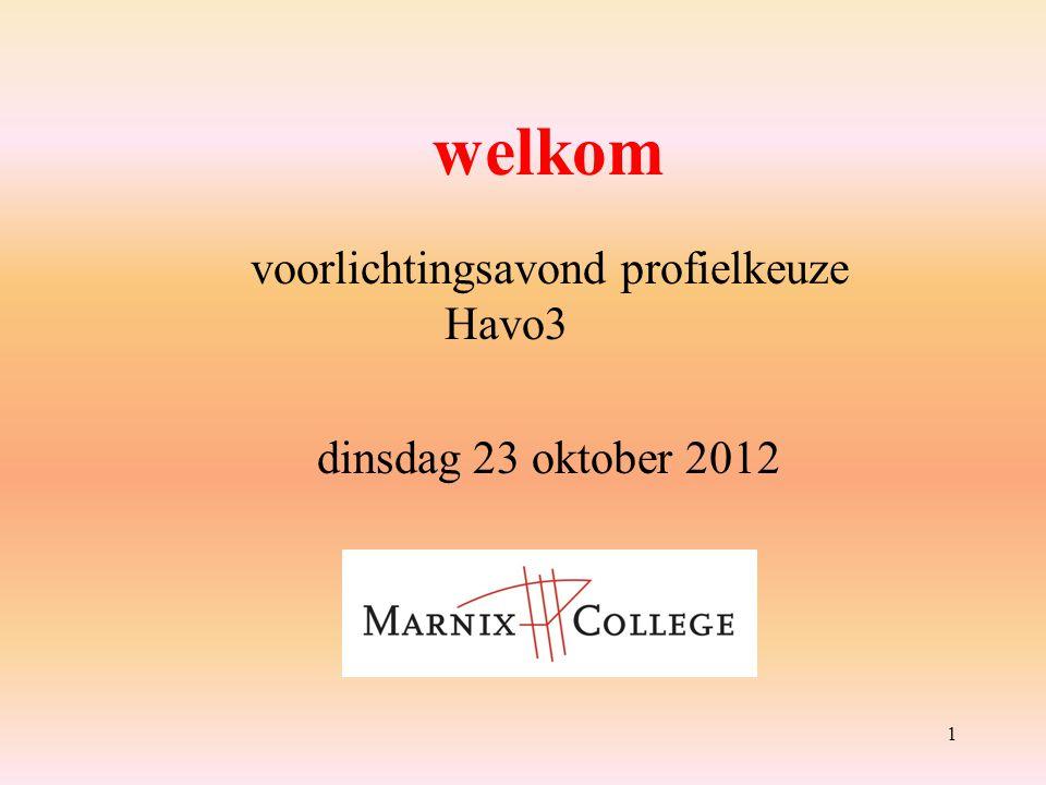1 welkom voorlichtingsavond profielkeuze Havo3 dinsdag 23 oktober 2012