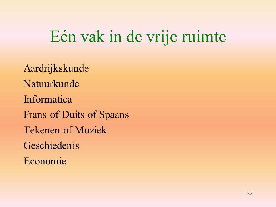 22 Eén vak in de vrije ruimte Aardrijkskunde Natuurkunde Informatica Frans of Duits of Spaans Tekenen of Muziek Geschiedenis Economie