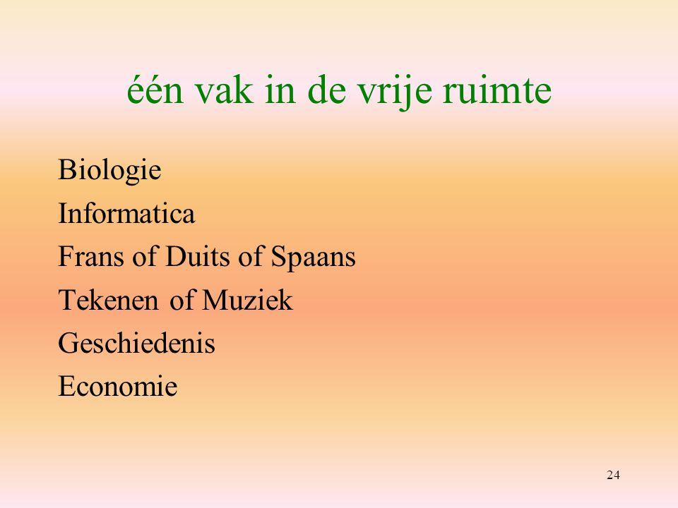 24 één vak in de vrije ruimte Biologie Informatica Frans of Duits of Spaans Tekenen of Muziek Geschiedenis Economie