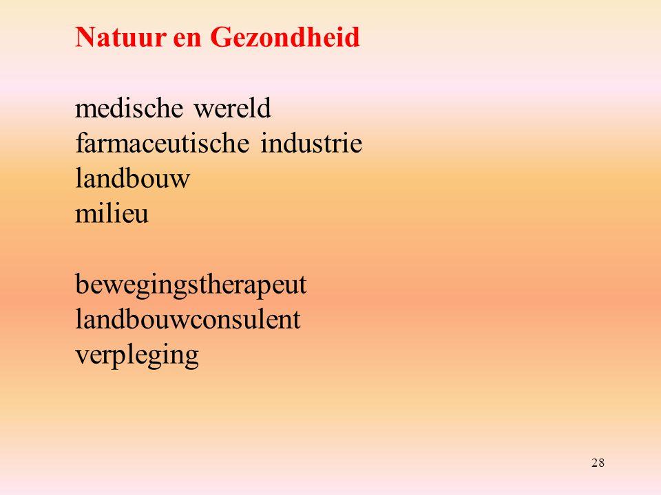 28 Natuur en Gezondheid medische wereld farmaceutische industrie landbouw milieu bewegingstherapeut landbouwconsulent verpleging