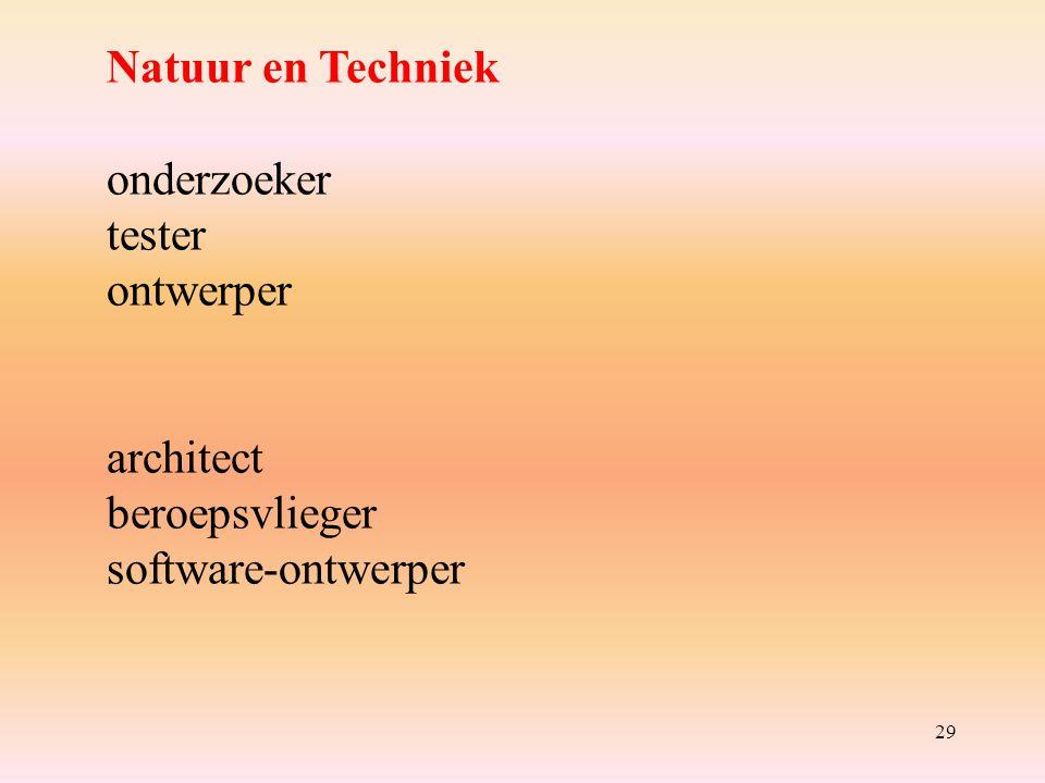 29 Natuur en Techniek onderzoeker tester ontwerper architect beroepsvlieger software-ontwerper