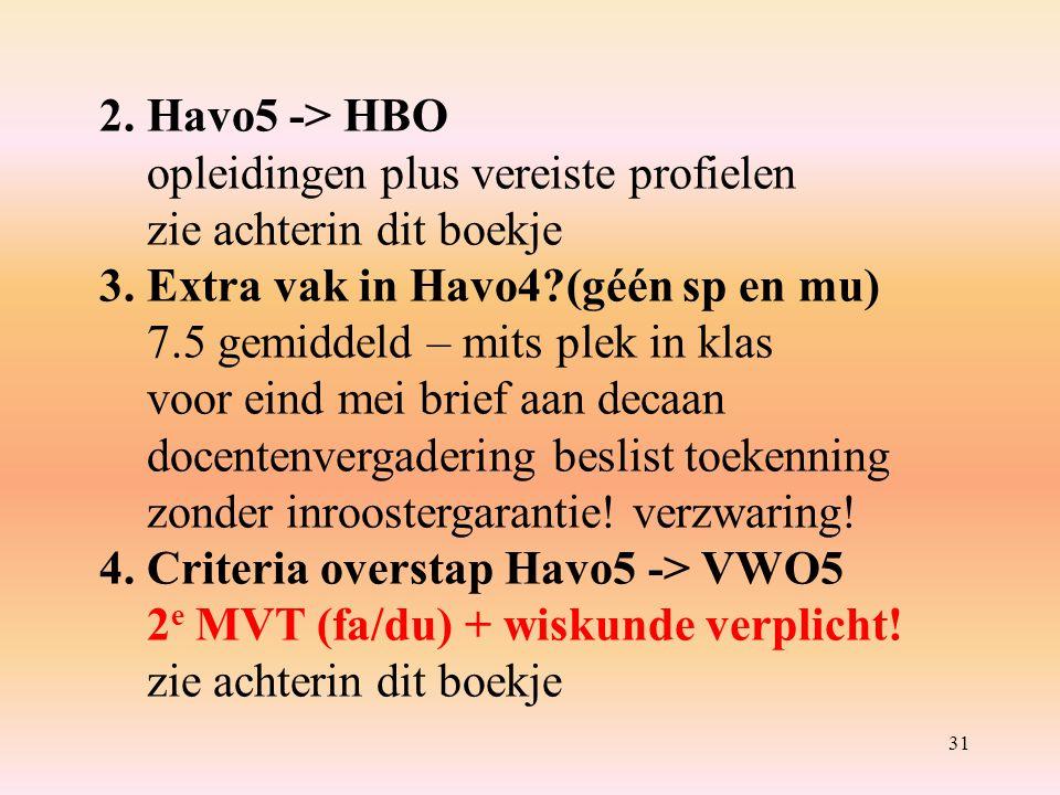 31 2.Havo5 -> HBO opleidingen plus vereiste profielen zie achterin dit boekje 3.