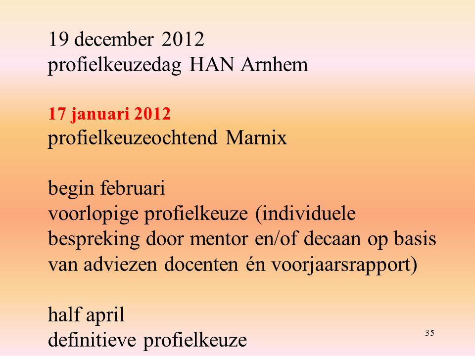 35 19 december 2012 profielkeuzedag HAN Arnhem 17 januari 2012 profielkeuzeochtend Marnix begin februari voorlopige profielkeuze (individuele bespreking door mentor en/of decaan op basis van adviezen docenten én voorjaarsrapport) half april definitieve profielkeuze