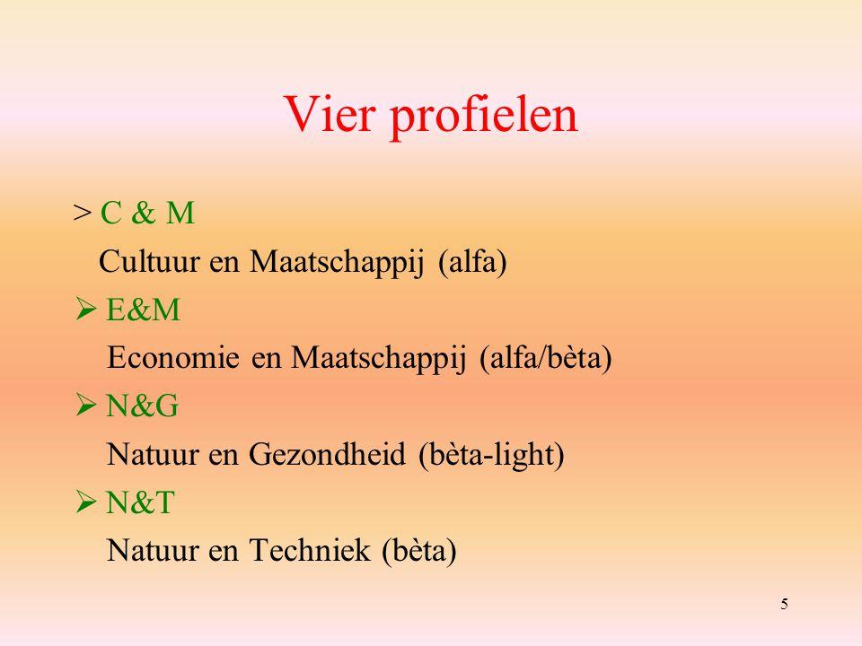 5 Vier profielen > C & M Cultuur en Maatschappij (alfa)  E&M Economie en Maatschappij (alfa/bèta)  N&G Natuur en Gezondheid (bèta-light)  N&T Natuur en Techniek (bèta)