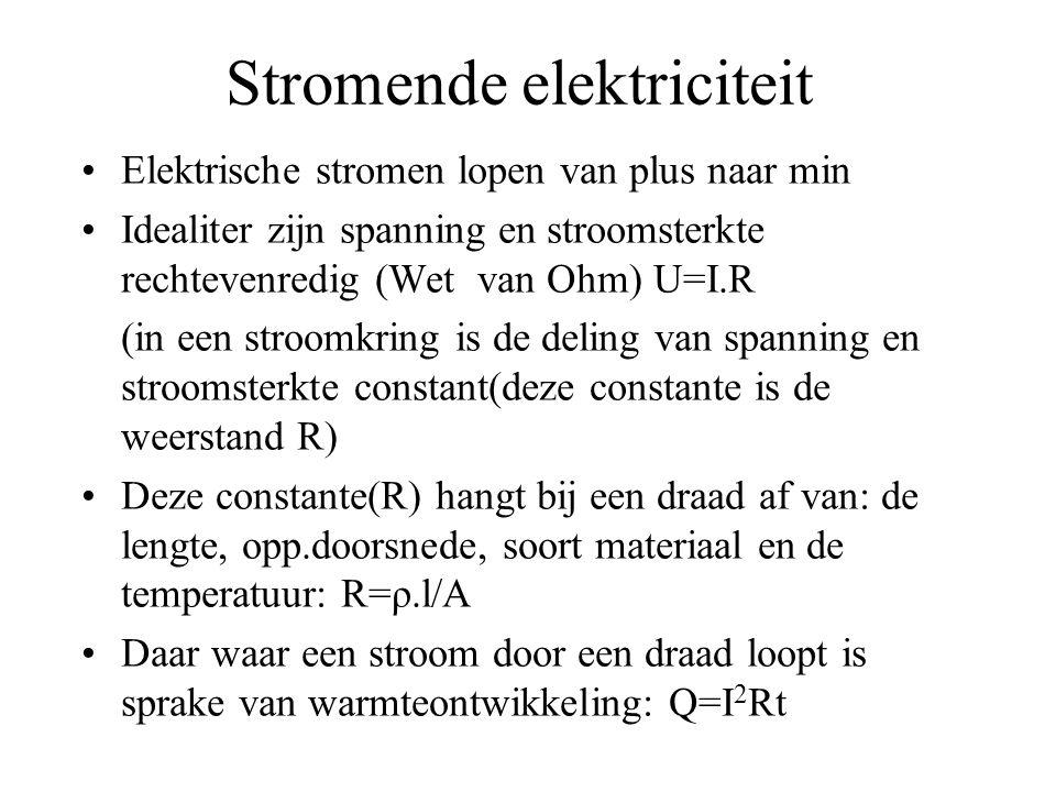 Stromende elektriciteit Elektrische stromen lopen van plus naar min Idealiter zijn spanning en stroomsterkte rechtevenredig (Wet van Ohm) U=I.R (in ee