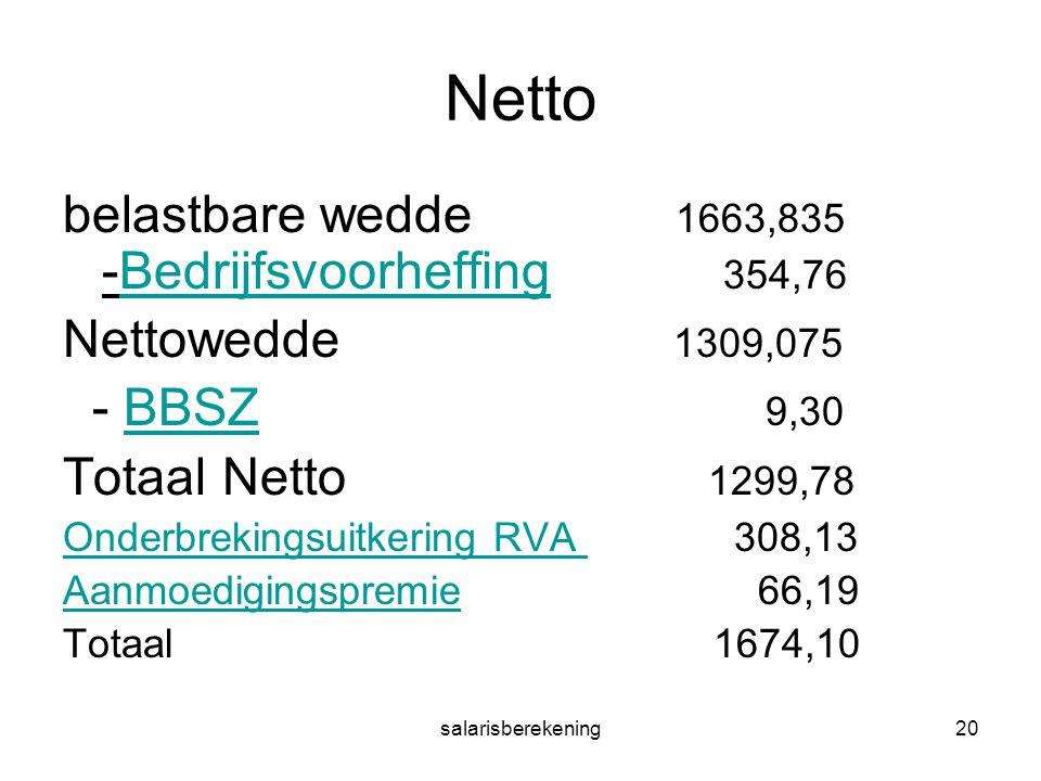 salarisberekening20 Netto belastbare wedde 1663,835 -Bedrijfsvoorheffing 354,76Bedrijfsvoorheffing Nettowedde 1309,075 - BBSZ 9,30BBSZ Totaal Netto 12
