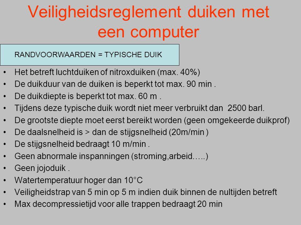 Veiligheidsreglement duiken met een computer Het betreft luchtduiken of nitroxduiken (max.
