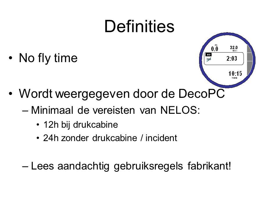 Definities No fly time Wordt weergegeven door de DecoPC –Minimaal de vereisten van NELOS: 12h bij drukcabine 24h zonder drukcabine / incident –Lees aa