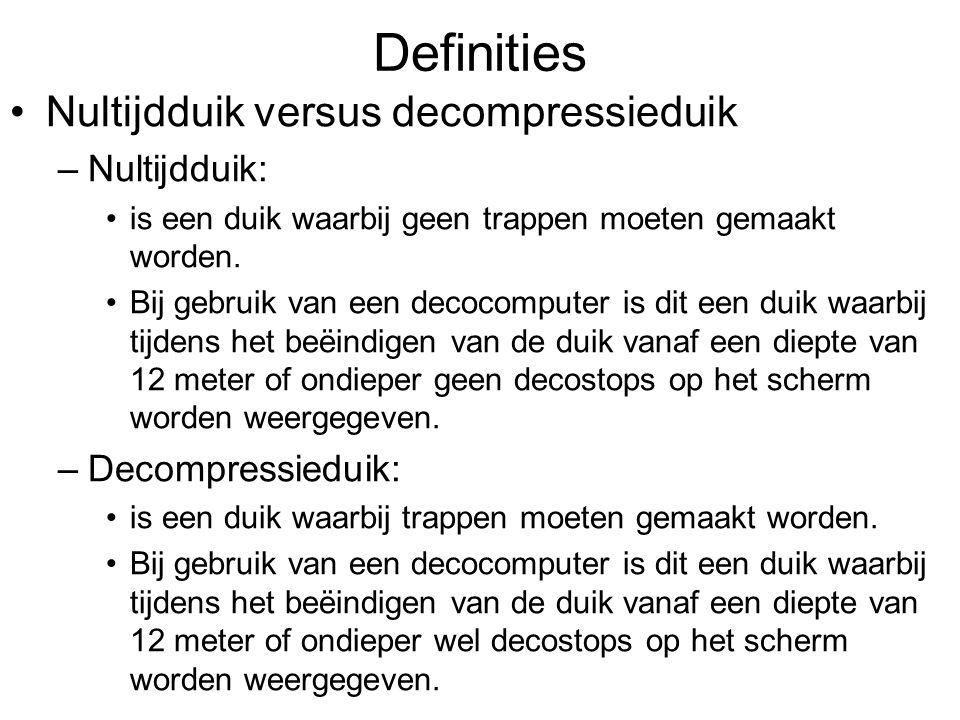 Definities Nultijdduik versus decompressieduik –Nultijdduik: is een duik waarbij geen trappen moeten gemaakt worden. Bij gebruik van een decocomputer