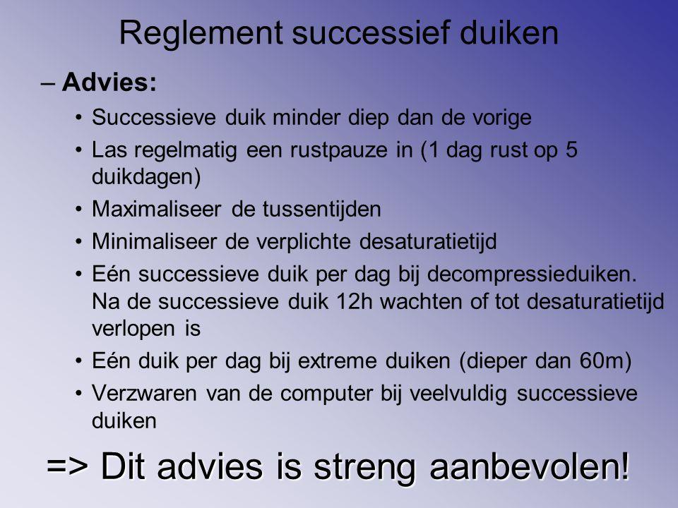 Reglement successief duiken –Advies: Successieve duik minder diep dan de vorige Las regelmatig een rustpauze in (1 dag rust op 5 duikdagen) Maximalise