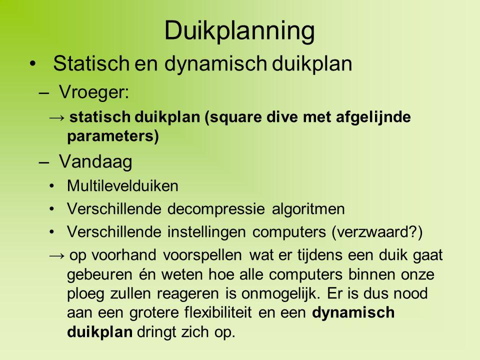 Duikplanning Statisch en dynamisch duikplan –Vroeger: → statisch duikplan (square dive met afgelijnde parameters) –Vandaag Multilevelduiken Verschille