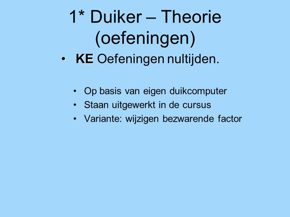 1* Duiker – Theorie (oefeningen) KEKE Oefeningen nultijden. Op basis van eigen duikcomputer Staan uitgewerkt in de cursus Variante: wijzigen bezwarend