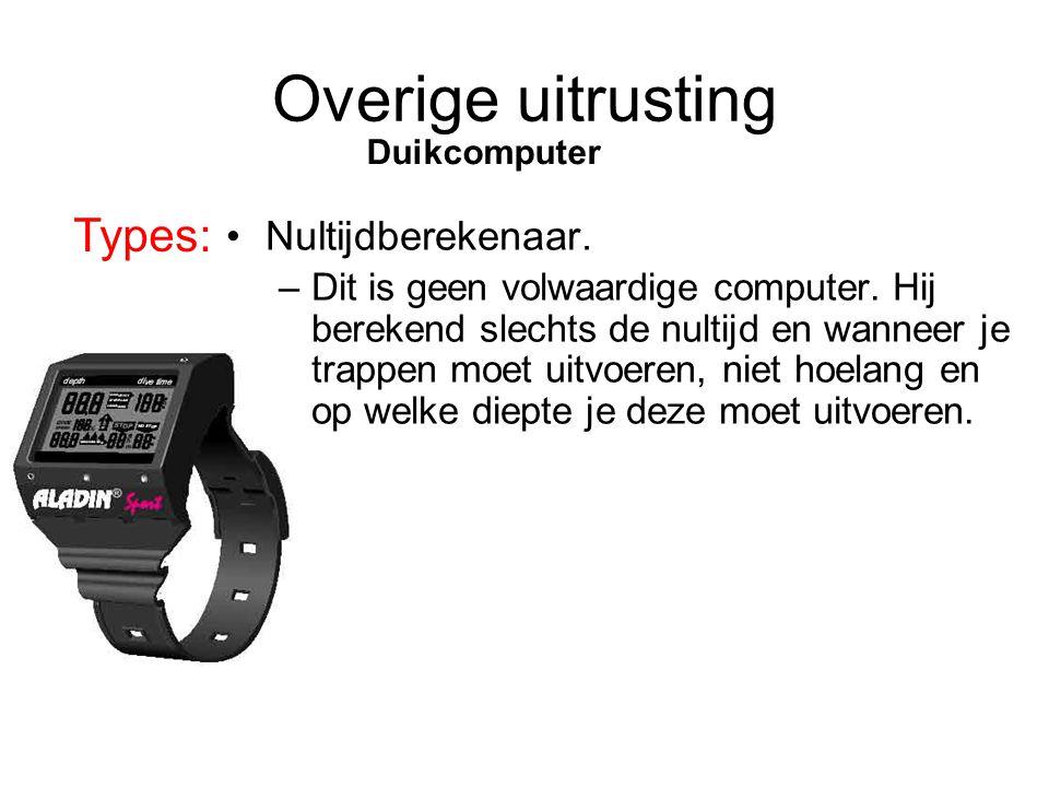 Overige uitrusting Types: Duikcomputer Nultijdberekenaar.