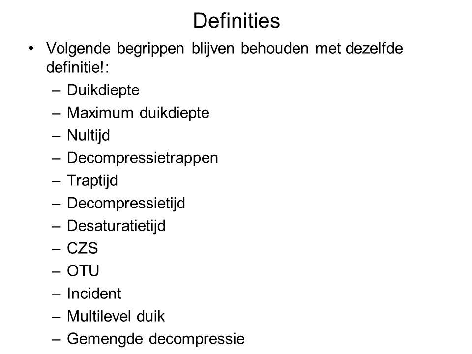 Definities Volgende begrippen blijven behouden met dezelfde definitie!: –Duikdiepte –Maximum duikdiepte –Nultijd –Decompressietrappen –Traptijd –Decom