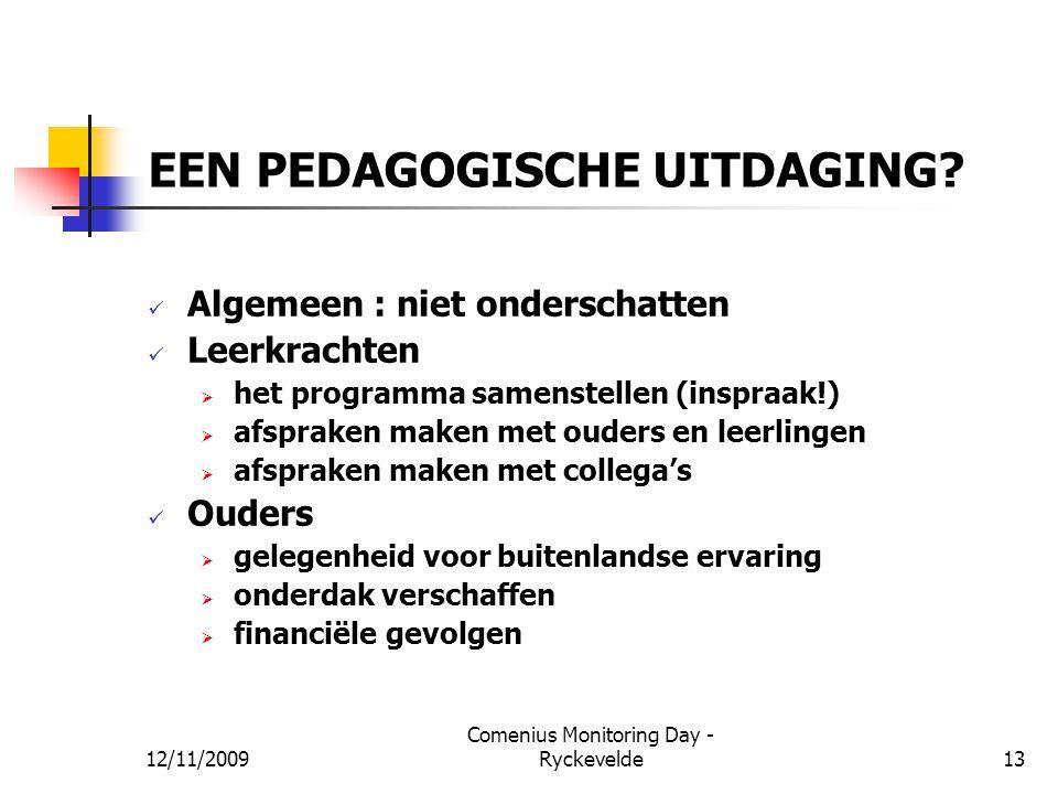 EEN PEDAGOGISCHE UITDAGING? Algemeen : niet onderschatten Leerkrachten  het programma samenstellen (inspraak!)  afspraken maken met ouders en leerli