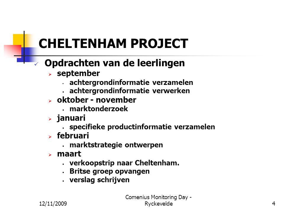 CHELTENHAM PROJECT Opdrachten van de leerlingen  september achtergrondinformatie verzamelen achtergrondinformatie verwerken  oktober - november mark