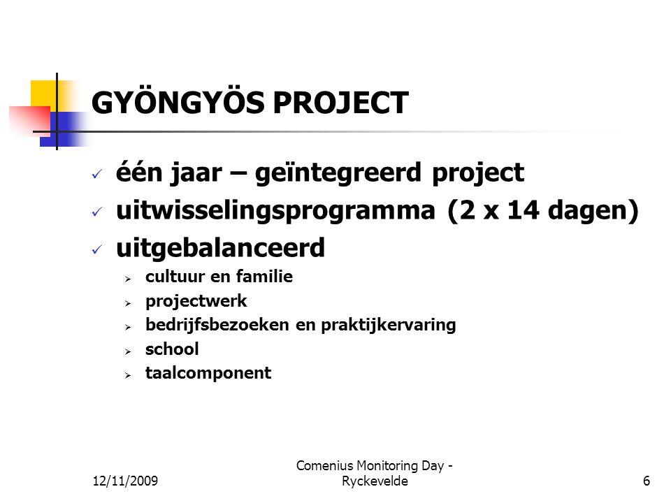 GYÖNGYÖS PROJECT één jaar – geïntegreerd project uitwisselingsprogramma (2 x 14 dagen) uitgebalanceerd  cultuur en familie  projectwerk  bedrijfsbe