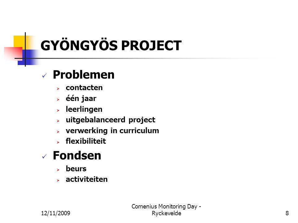 GYÖNGYÖS PROJECT Problemen  contacten  één jaar  leerlingen  uitgebalanceerd project  verwerking in curriculum  flexibiliteit Fondsen  beurs 