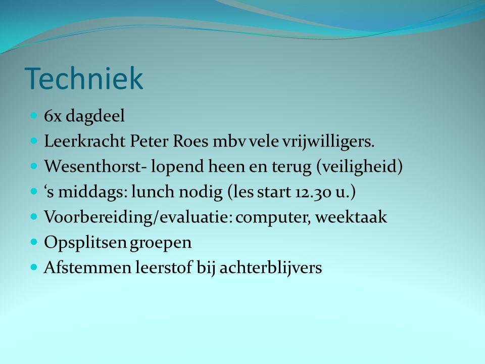 Techniek 6x dagdeel Leerkracht Peter Roes mbv vele vrijwilligers. Wesenthorst- lopend heen en terug (veiligheid) 's middags: lunch nodig (les start 12