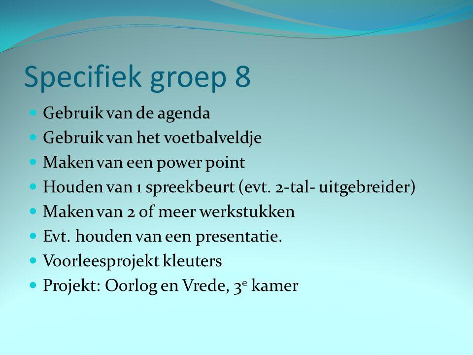 Specifiek groep 8 Gebruik van de agenda Gebruik van het voetbalveldje Maken van een power point Houden van 1 spreekbeurt (evt. 2-tal- uitgebreider) Ma