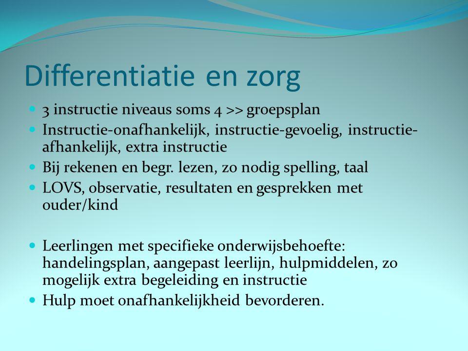 Differentiatie en zorg 3 instructie niveaus soms 4 >> groepsplan Instructie-onafhankelijk, instructie-gevoelig, instructie- afhankelijk, extra instruc