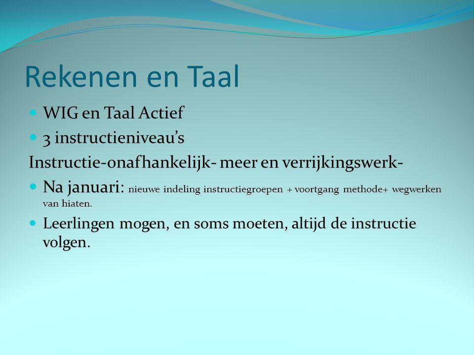 Rekenen en Taal WIG en Taal Actief 3 instructieniveau's Instructie-onafhankelijk- meer en verrijkingswerk- Na januari: nieuwe indeling instructiegroep