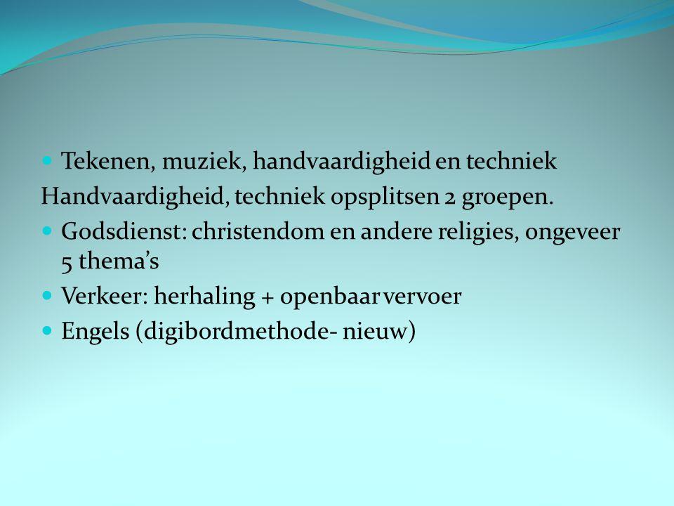 Tekenen, muziek, handvaardigheid en techniek Handvaardigheid, techniek opsplitsen 2 groepen. Godsdienst: christendom en andere religies, ongeveer 5 th