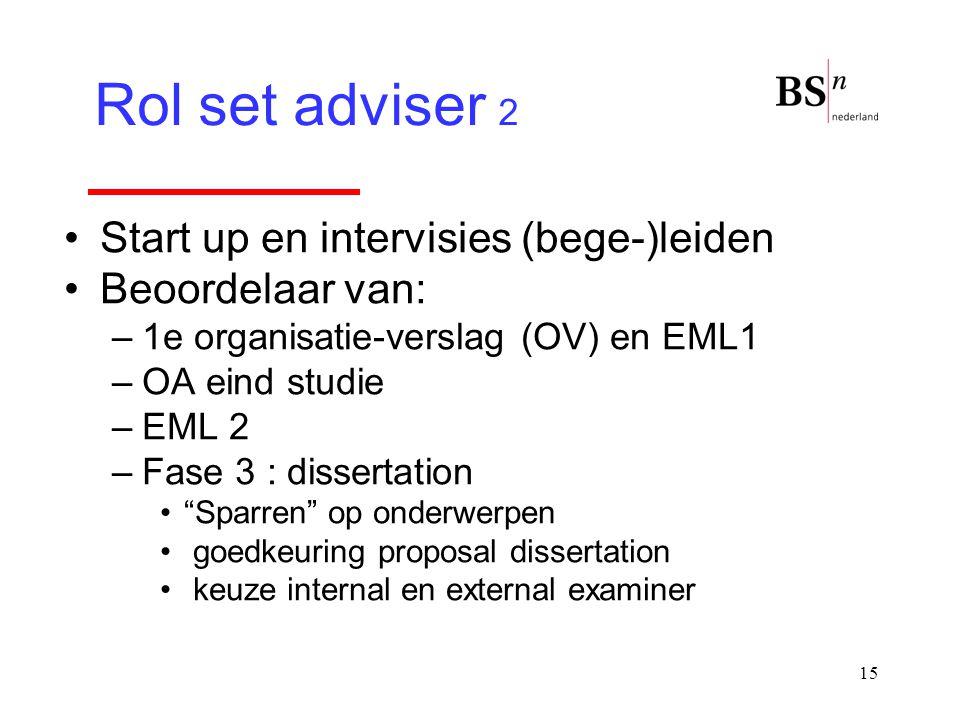 """15 Start up en intervisies (bege-)leiden Beoordelaar van: –1e organisatie-verslag (OV) en EML1 –OA eind studie –EML 2 –Fase 3 : dissertation """"Sparren"""""""