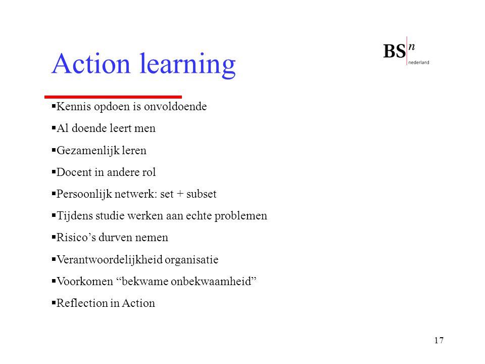17 Action learning  Kennis opdoen is onvoldoende  Al doende leert men  Gezamenlijk leren  Docent in andere rol  Persoonlijk netwerk: set + subset