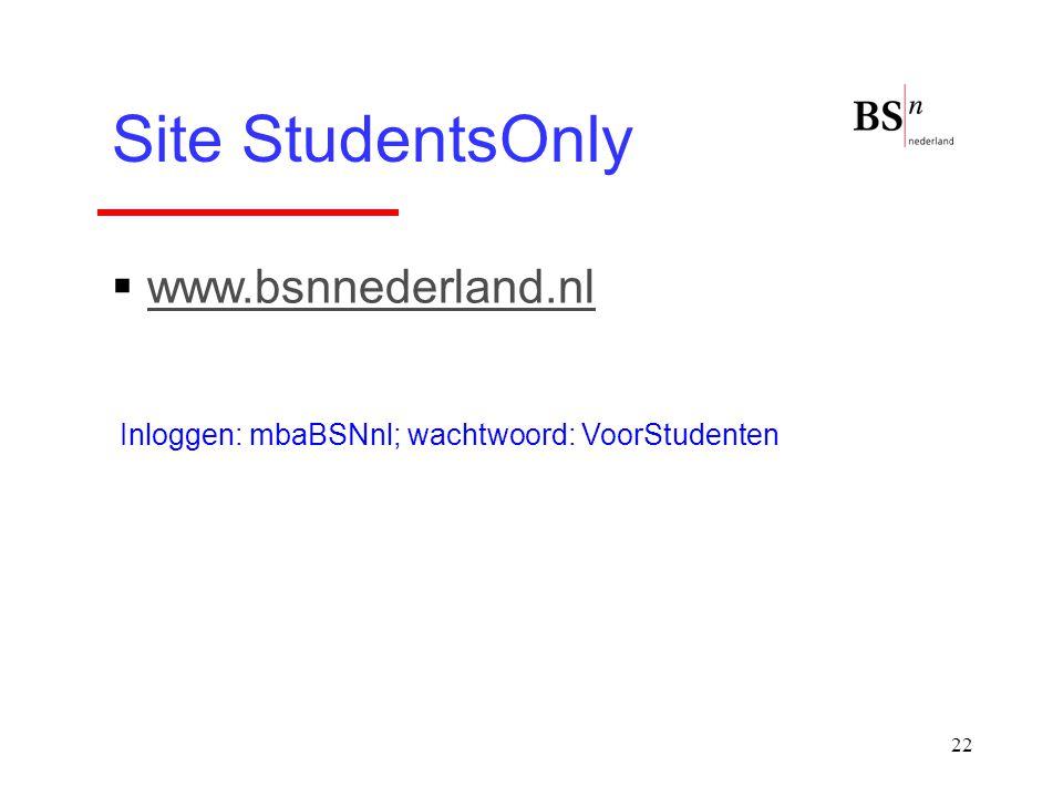 22 Site StudentsOnly  www.bsnnederland.nlwww.bsnnederland.nl Inloggen: mbaBSNnl; wachtwoord: VoorStudenten
