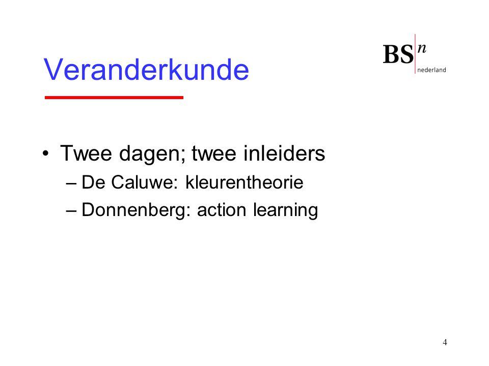 4 Veranderkunde Twee dagen; twee inleiders –De Caluwe: kleurentheorie –Donnenberg: action learning