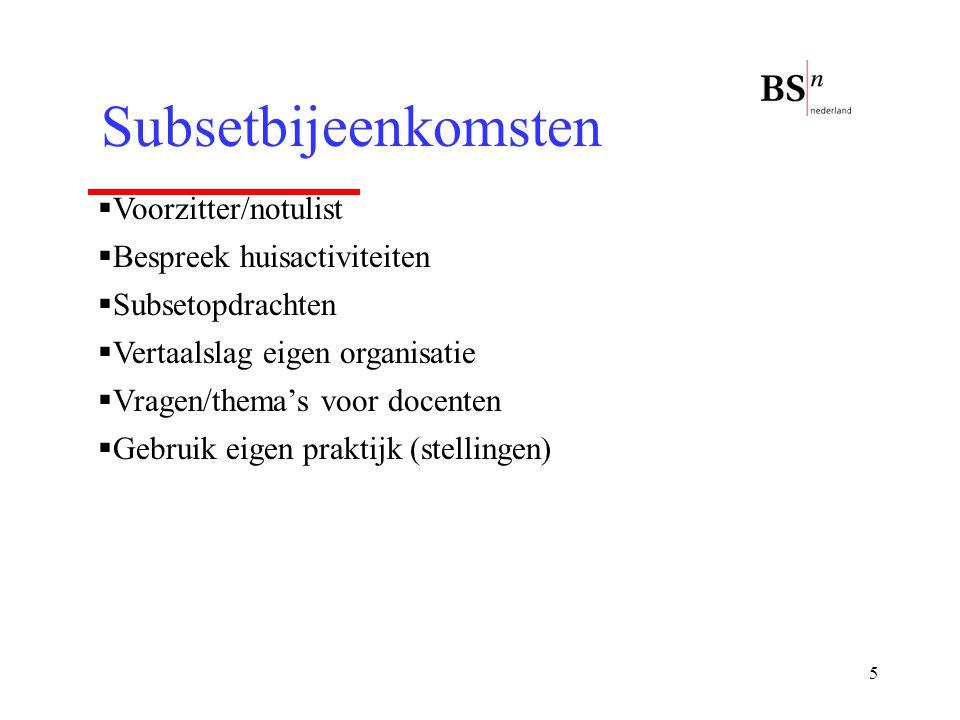 5 Subsetbijeenkomsten  Voorzitter/notulist  Bespreek huisactiviteiten  Subsetopdrachten  Vertaalslag eigen organisatie  Vragen/thema's voor docen