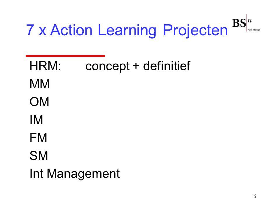 17 Action learning  Kennis opdoen is onvoldoende  Al doende leert men  Gezamenlijk leren  Docent in andere rol  Persoonlijk netwerk: set + subset  Tijdens studie werken aan echte problemen  Risico's durven nemen  Verantwoordelijkheid organisatie  Voorkomen bekwame onbekwaamheid  Reflection in Action