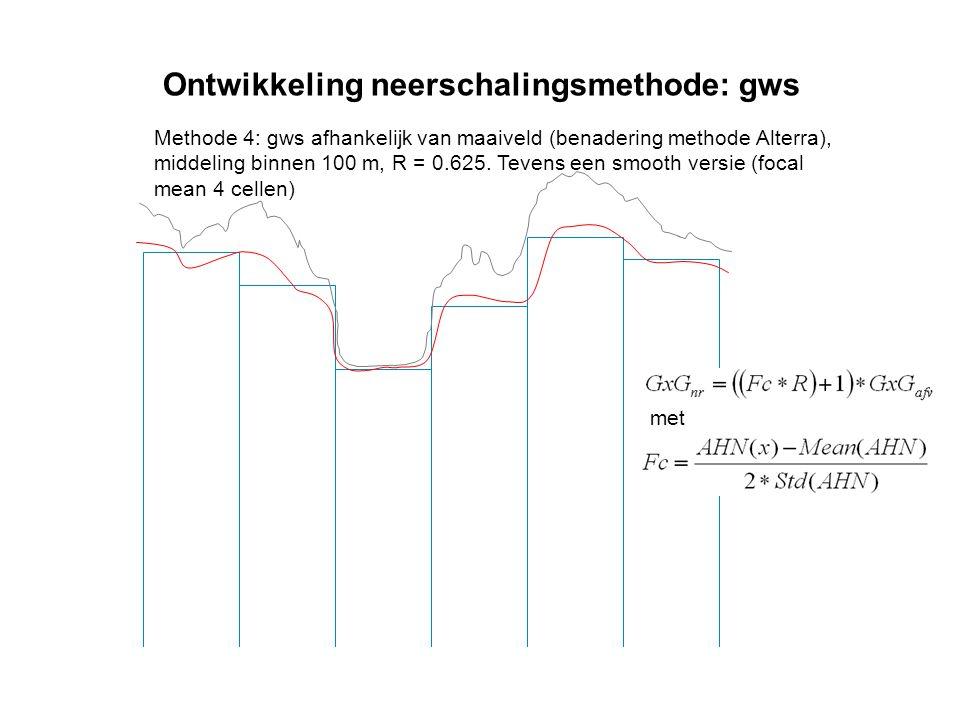 Ontwikkeling neerschalingsmethode: gws Methode 4: gws afhankelijk van maaiveld (benadering methode Alterra), middeling binnen 100 m, R = 0.625. Tevens