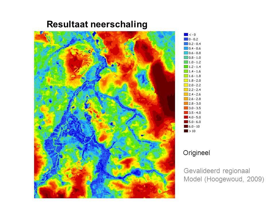Resultaat neerschaling Origineel Gevalideerd regionaal Model (Hoogewoud, 2009)