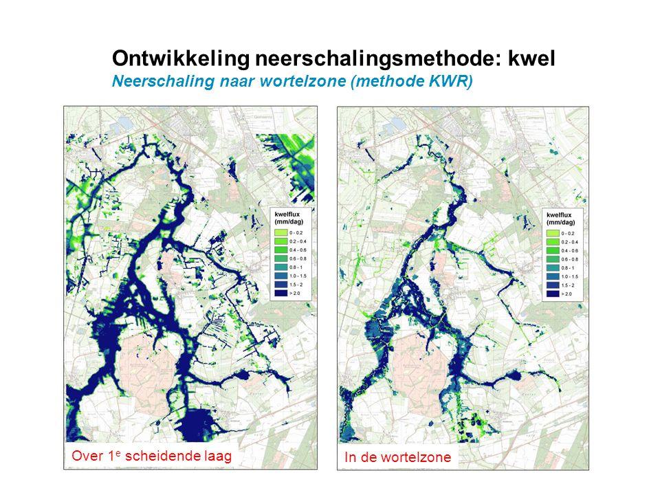 Ontwikkeling neerschalingsmethode: kwel Neerschaling naar wortelzone (methode KWR) Over 1 e scheidende laag In de wortelzone