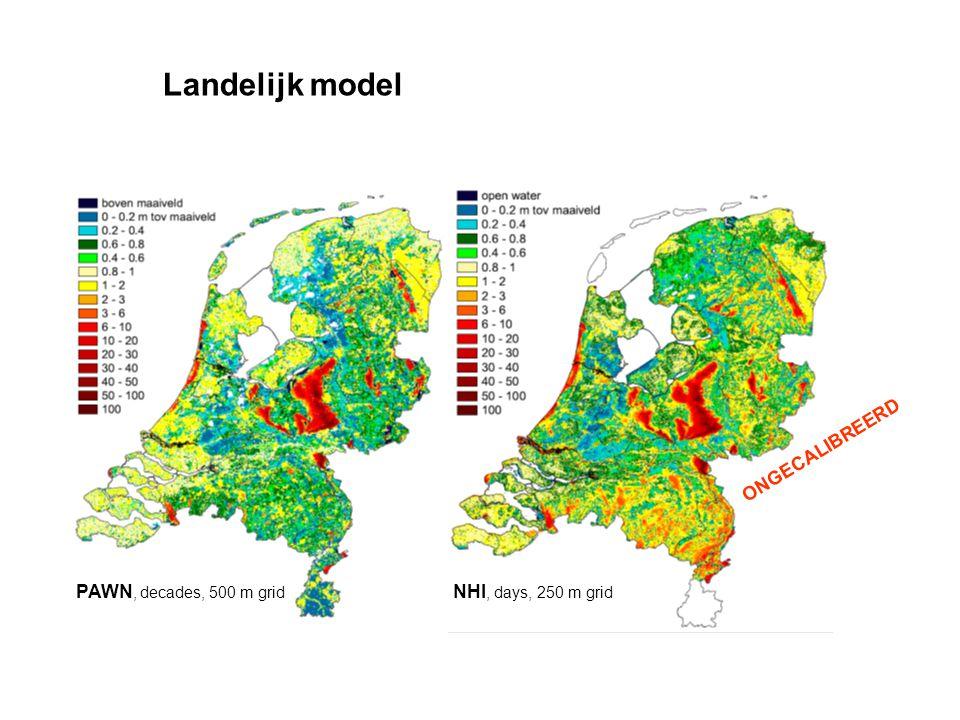 Landelijk model PAWN, decades, 500 m grid NHI, days, 250 m grid ONGECALIBREERD