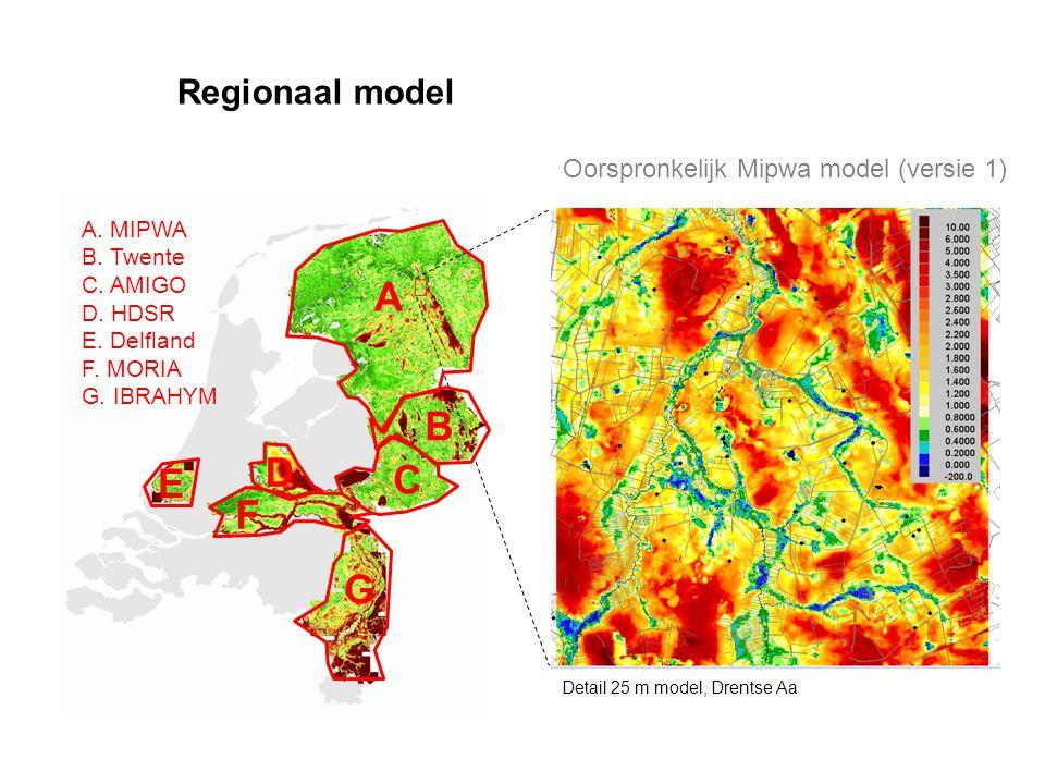Regionaal model Detail 25 m model, Drentse Aa A B C D E F A. MIPWA B. Twente C. AMIGO D. HDSR E. Delfland F. MORIA G. IBRAHYM G Oorspronkelijk Mipwa m