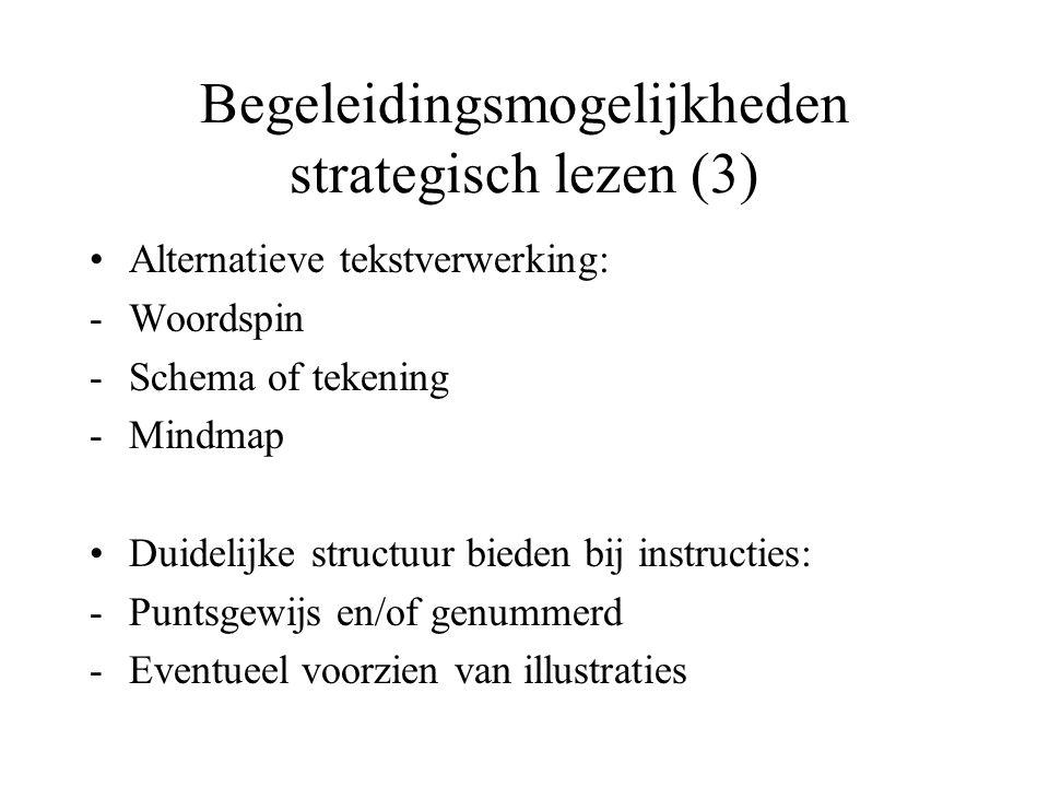 Begeleidingsmogelijkheden strategisch lezen (3) Alternatieve tekstverwerking: -Woordspin -Schema of tekening -Mindmap Duidelijke structuur bieden bij