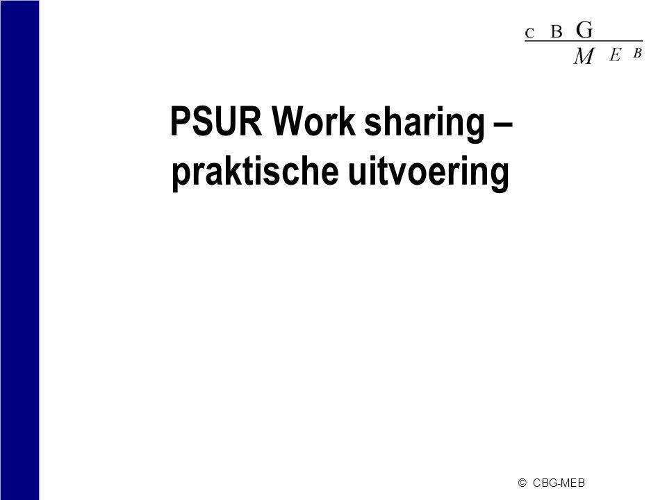 © CBG-MEB PSUR Work sharing – praktische uitvoering