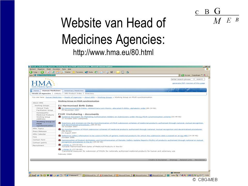 © CBG-MEB Website van Head of Medicines Agencies: http://www.hma.eu/80.html