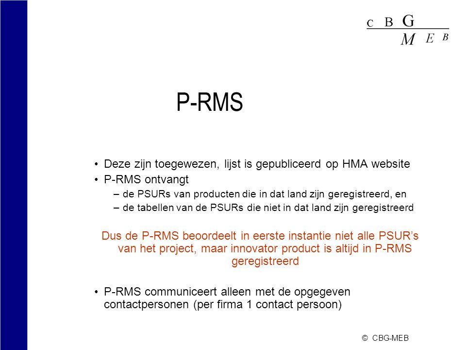 © CBG-MEB P-RMS Deze zijn toegewezen, lijst is gepubliceerd op HMA website P-RMS ontvangt –de PSURs van producten die in dat land zijn geregistreerd,