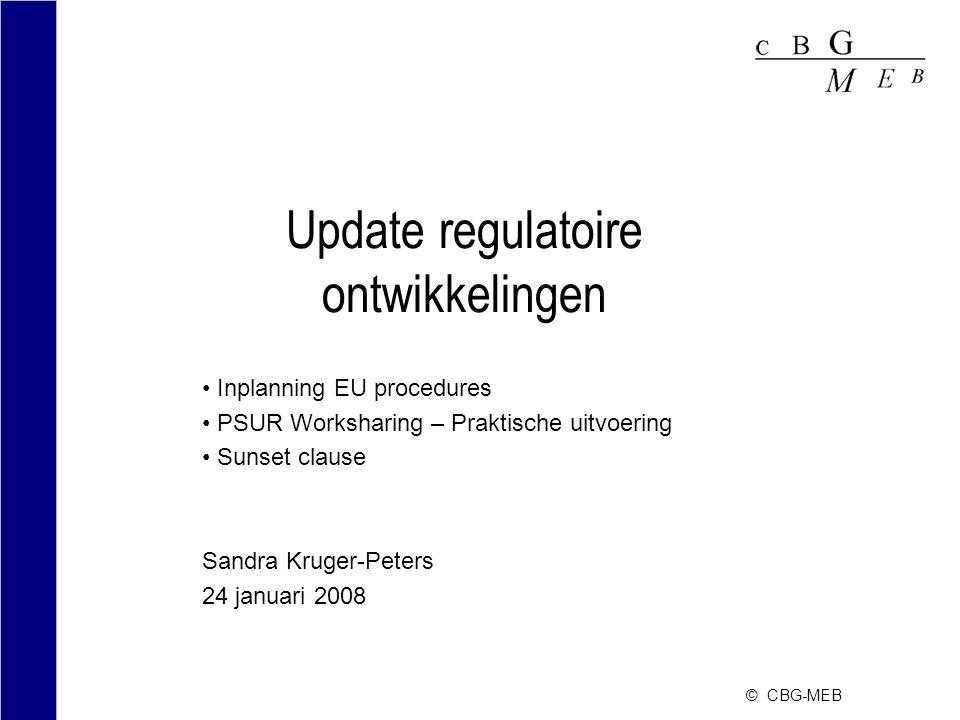 Update regulatoire ontwikkelingen Inplanning EU procedures PSUR Worksharing – Praktische uitvoering Sunset clause Sandra Kruger-Peters 24 januari 2008