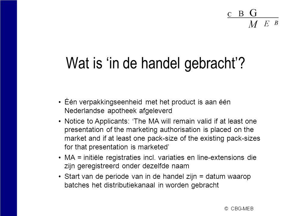 © CBG-MEB Wat is 'in de handel gebracht'? Één verpakkingseenheid met het product is aan één Nederlandse apotheek afgeleverd Notice to Applicants: 'The