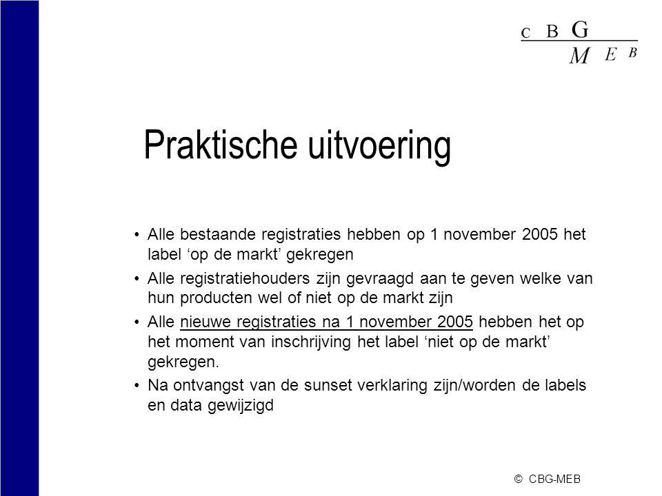 © CBG-MEB Praktische uitvoering Alle bestaande registraties hebben op 1 november 2005 het label 'op de markt' gekregen Alle registratiehouders zijn ge