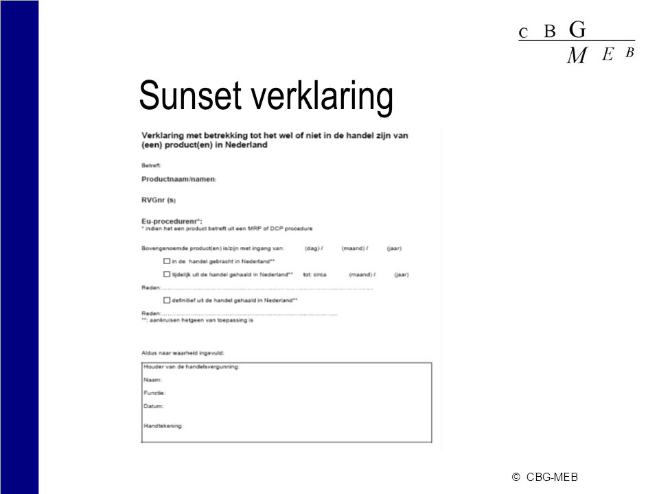 © CBG-MEB Sunset verklaring