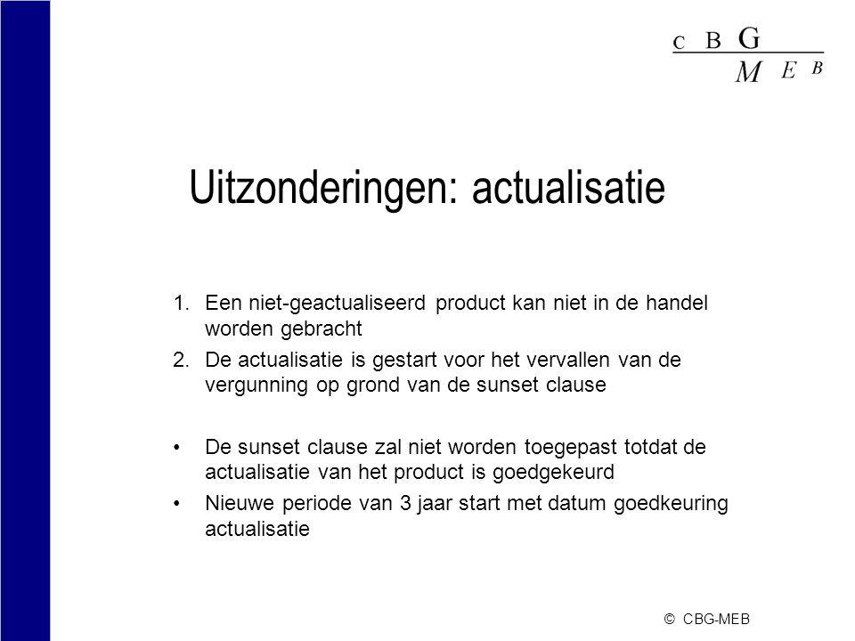 © CBG-MEB Uitzonderingen: actualisatie 1.Een niet-geactualiseerd product kan niet in de handel worden gebracht 2.De actualisatie is gestart voor het v