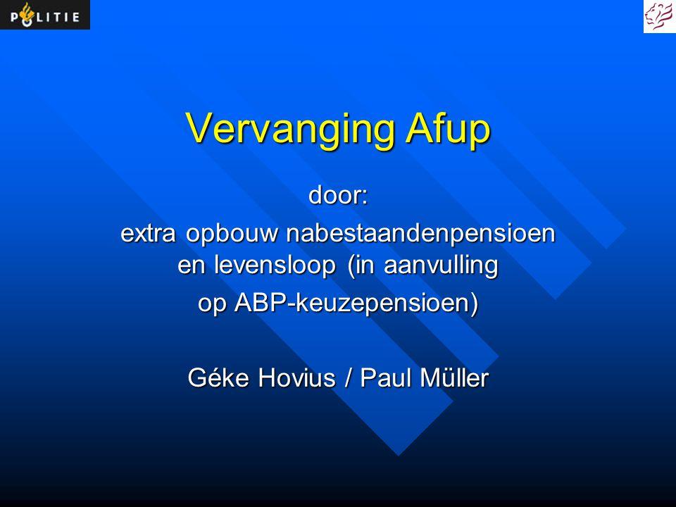 Vervanging Afup door: extra opbouw nabestaandenpensioen en levensloop (in aanvulling op ABP-keuzepensioen) Géke Hovius / Paul Müller