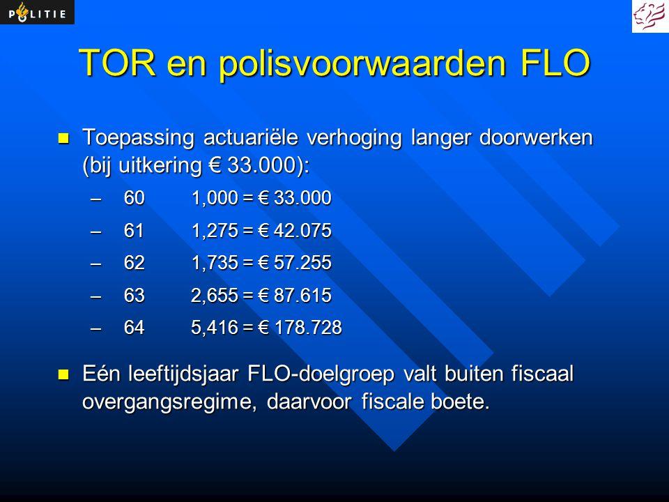 TOR en polisvoorwaarden FLO Toepassing actuariële verhoging langer doorwerken (bij uitkering € 33.000): Toepassing actuariële verhoging langer doorwer