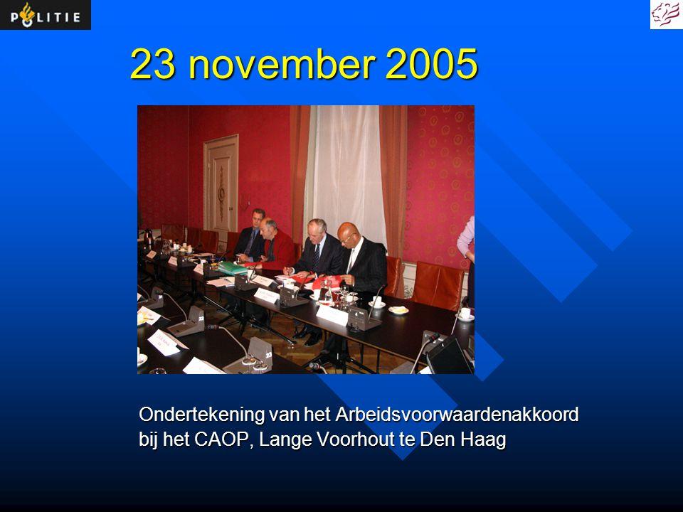 23 november 2005 Ondertekening van het Arbeidsvoorwaardenakkoord bij het CAOP, Lange Voorhout te Den Haag
